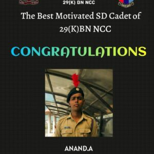 Mr. Anand A of II BSc Physics as Best Motivated SD Cadet